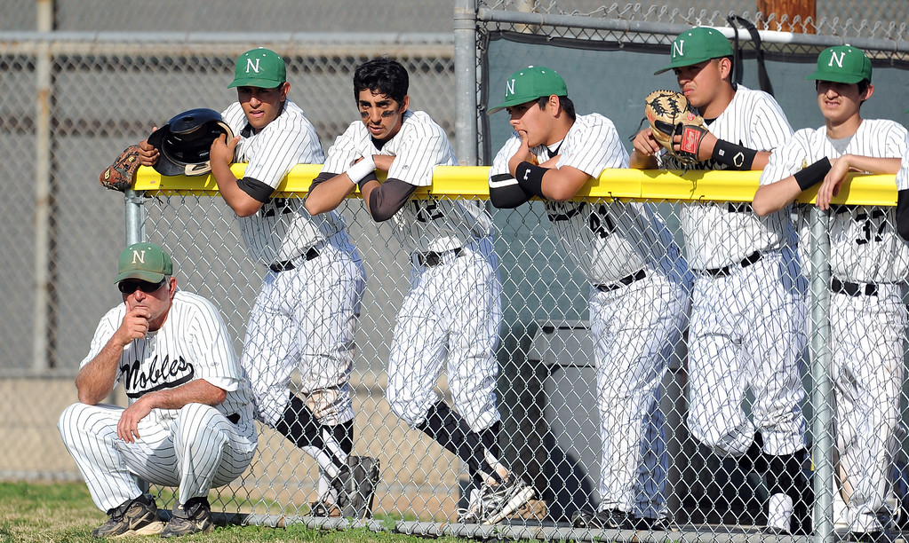 . in the first inning of a prep baseball game at Nogales High School on Tuesday, March 12, 2013 in West Covina, Calif. Nogales won 2-0.  (Keith Birmingham Pasadena Star-News)