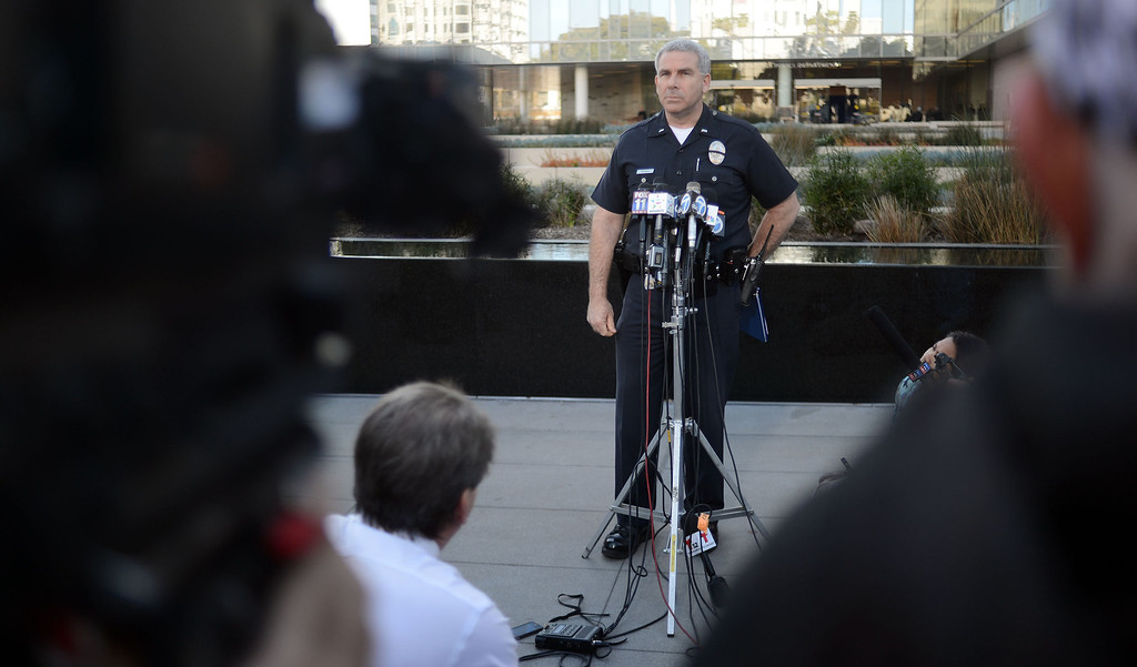 . LAPD Lt. Andrew Neiman briefs the media about the Chris Dorner man hunt at the Police Administration Building in Los Angeles Monday, February 11,2012. (Hans Gutknecht/Staff Photographer)
