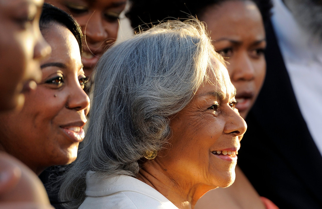 Description of . Baseball legend Jackie Robinson's widow Rachel Robinson poses with family members at the Los Angeles premiere of