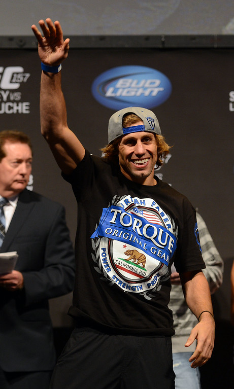 . UFC fighter Urijah Faber during weigh-ins for UFC 157 Rousey vs Carmouche at the Honda Center in Anaheim Friday, February  22, 2013.  (Hans Gutknecht/Staff Photographer)