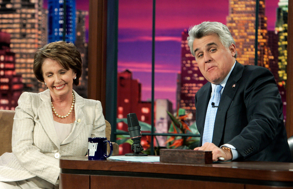 """. Nancy Pelosi, D-Calif., Speaker of the House of Representatives, appears with host Jay Leno during a taping of  \""""The Tonight Show with Jay Leno\""""  at NBC studios in Burbank, Calif., Thursday, April 12, 2007. (AP Photo/Reed Saxon)"""