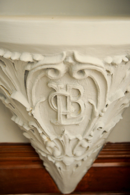 . This pedestal with Leslie C. Brand\'s initials was uncovered hidden behind a closed-off door during the renovation of Glendale�s Brand Library & Art Center. Tuesday, July 23, 2013. (Michael Owen Baker/L.A. Daily News)