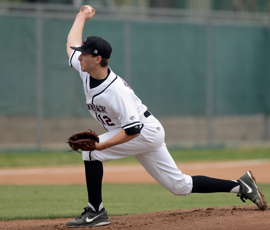 Description of . Claremont's Andrew Bernstein pitches to Chino Hills, Claremont who went on to win 6-3 April 25, 2013. (Thomas R. Cordova/Staff Photographer)