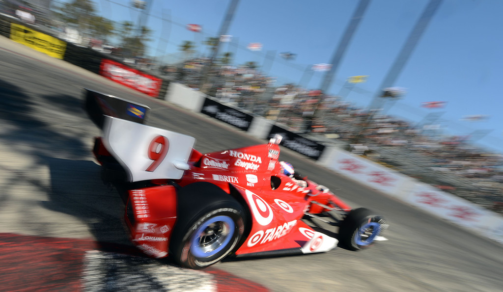 . (Will Lester/Staff Photographer)  Indycar driver Scott Dixon drives through the hairpin during the Friday afternoon practice session April 19, 2013 at the 39th annual Toyota Grand Prix of Long Beach.