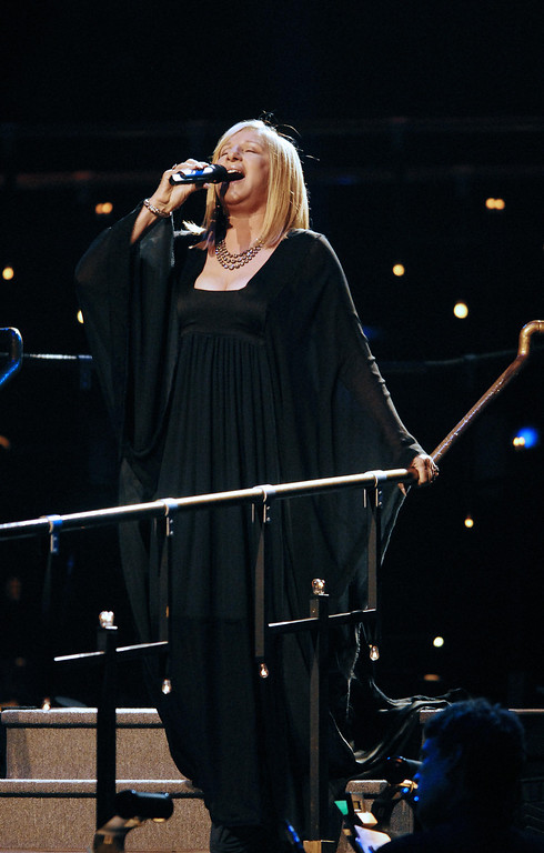 . Paris, FRANCE: US singer Barbra Streisand performs on stage at the Palais Omnisport of Bercy, 26 June 2007 in Paris.  (MIGUEL MEDINA/AFP/Getty Images)