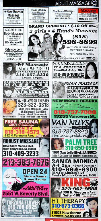 Description of . Advertising in the LA Weekly for Massage businesses Thursday, April 17, 2014. (Photo by Walt Mancini/Pasadena Star-News)