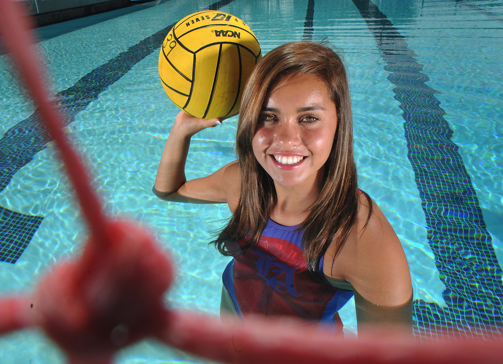 Description of . Los Altos' Stephanie Contreras was selected as the San Gabriel Valley Tribune girls Water Polo Player of the Year on Friday March 29, 2013. (SGVN/Staff Photo by Keith Durflinger)