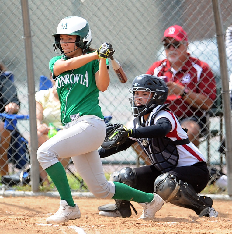 Description of . Monrovia's Hunter Alvarez watches her RBI single in the first inning of the Northview Tournament championship softball game against Covina at Northview High School on Thursday, April 4, 2013 in Covina, Calif.  Monrovia won 6-0. 