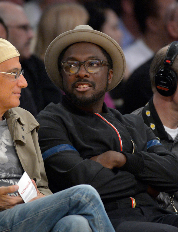 . will.i.am watches the Los Angeles Lakers play the Detroit Pistons in their NBA basketball game, Sunday, Nov. 4, 2012, in Los Angeles.   (AP Photo/Mark J. Terrill)