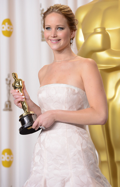 ". Jennifer Lawrence won the award for best actress in a leading role for ""Silver Linings Playbook\"" backstage at the 85th Academy Awards at the Dolby Theatre in Los Angeles, California on Sunday Feb. 24, 2013 ( David Crane, staff photographer)"