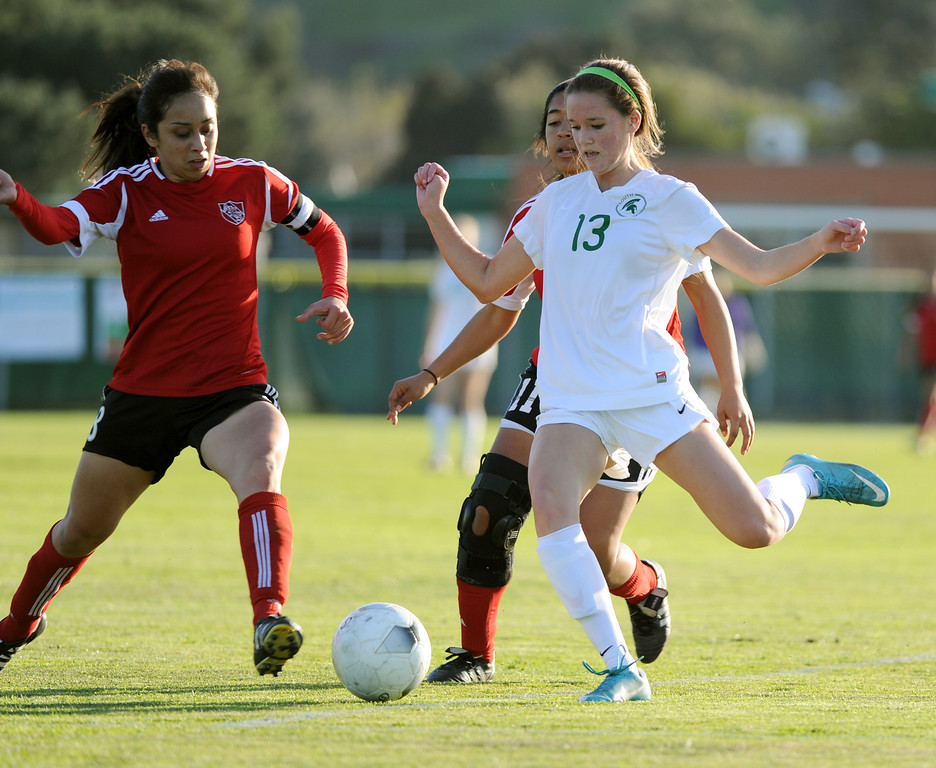 . 02-21-2012--(LANG Staff Photo by Sean Hiller)- South Torrance girls soccer beat Artesia 5-0 in Thursday\'s CIF Southern Section Division IV quarterfinal at South High.