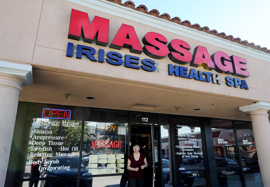 . Iris Spa Massage located at 2982 East Colorado Boulevard in Pasadena.In the last 10 years, the number of massage businesses has increased dramatically in the San Gabriel Valley, causing many cities to grapple with ways to monitor and regulate them. The California Massage Therapy Law, passed in 2009, regulates massage therapists and protects them from restrictive ordinances from cities. However, the law is set to sunset in 2015, and lawmakers, massage advocates and local cities have proposed a new law improves regulation and gives cities more control (Photo by Walt Mancini/Pasadena Star-News)