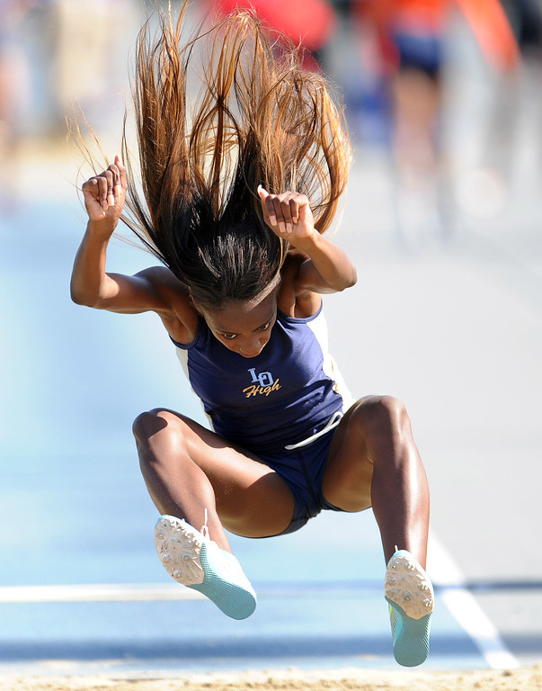 . Los Osos Kira Moreland in the long jump during the CIF-SS Masters Meet at Cerritos College on Friday, May 24, 2013 in Norwalk, Calif.  (Keith Birmingham Pasadena Star-News)
