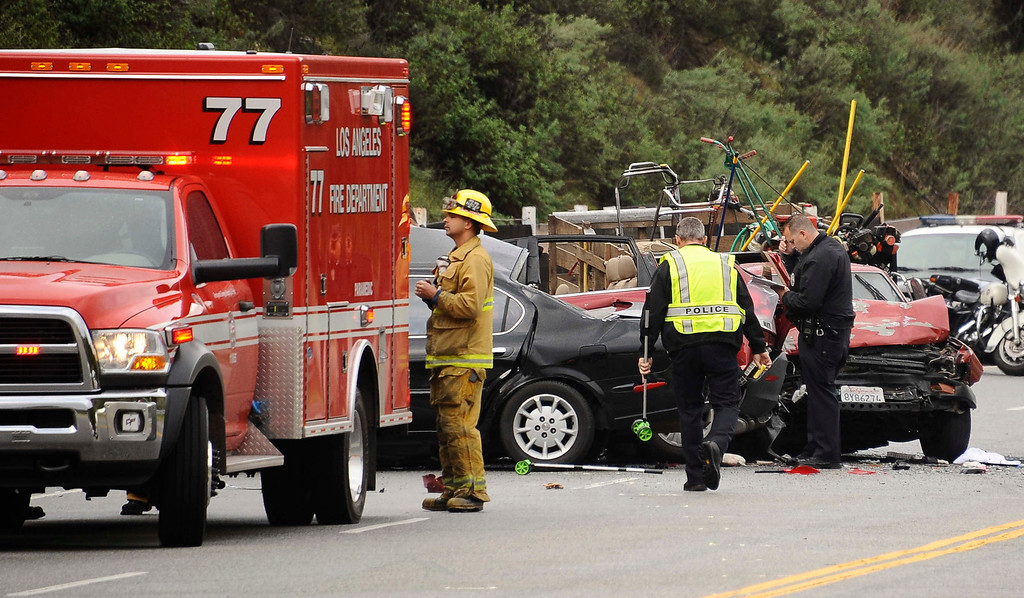 . March 7,2013.   Sun Valley , SUN VALLEY - A three-vehicle crash in Sun Valley Thursday left one person dead, authorities said.  Firefighters were sent to the 10800 block of La Tuna Canyon Road about 7:45 a.m., said Los Angeles Fire Department spokesman Brian Humphrey.  The circumstances of the crash were under investigation.  One person died at the scene, and three others were taken to hospitals with injuries ranging from moderate to severe, he said. The circumstances of the crash were under investigation.  Photo by Gene Blevins/LA DailyNews