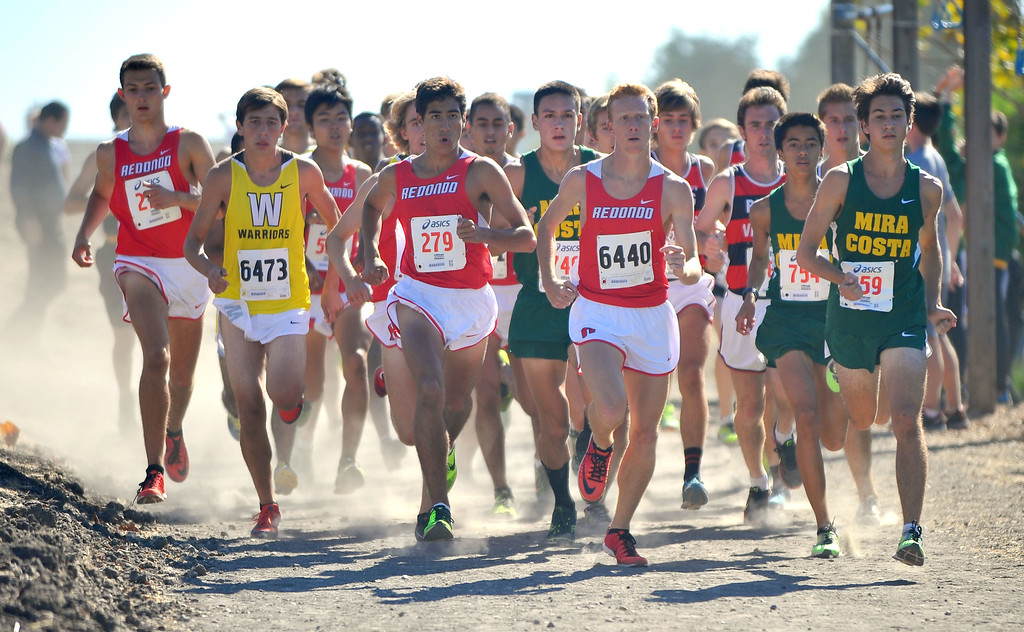 . Peninsula High hosted a Bay League cross country meet in Palos Verdes Estates, CA on Thursday, September 26, 2013.  The boys varsity race gets under way. (Photo by Scott Varley, Daily Breeze)