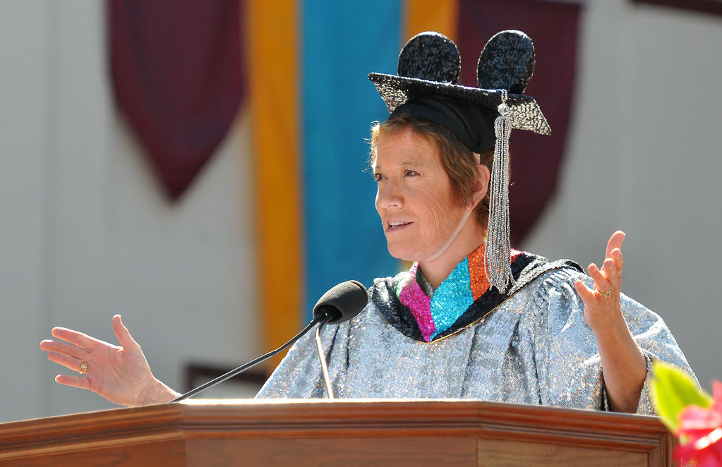 ". (John Valenzuela/Staff Photographer) University of Redlands alumni, Marilyn Magness Carroll, class of 1975, delivered the Commencement speech, "" If You Can Dream It, You can Do It\"" during the 104th College of Arts & Sciences Commencement for the University of Redlands, Saturday, April 20, 2013."