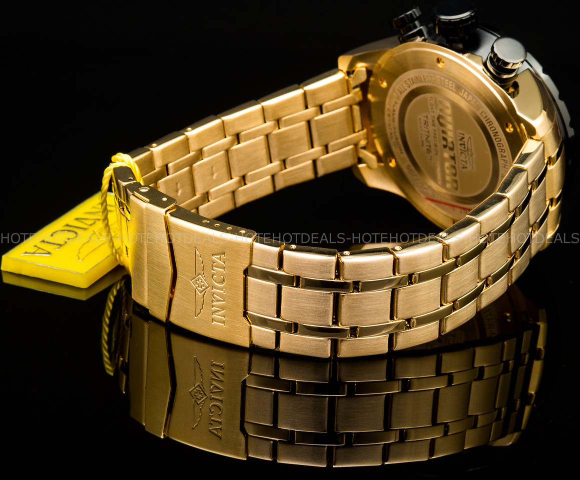 h 18K Gold Plated Stainless Steel Tachymeter
