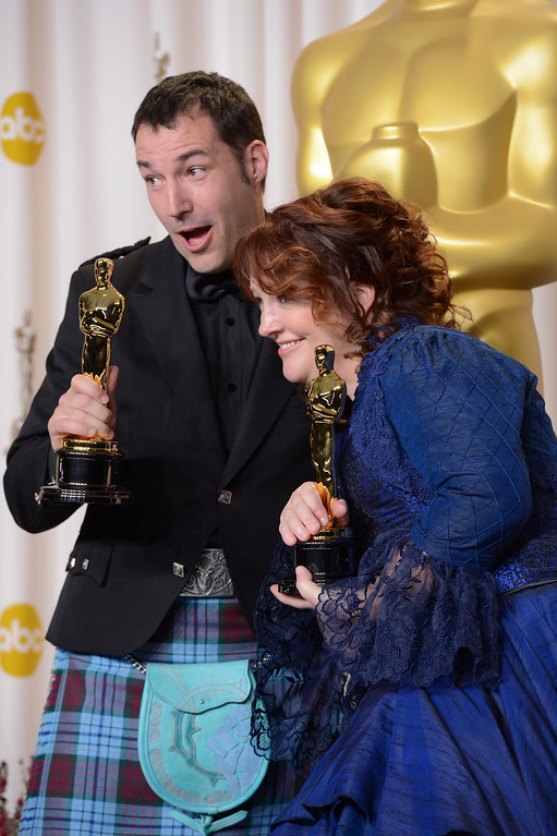 """. Mark Andrews and Brenda Chapman accept the award for best animated feature film for \""""Brave\"""" backstage at the 85th Academy Awards at the Dolby Theatre in Los Angeles, California on Sunday Feb. 24, 2013 ( David Crane, staff photographer)"""