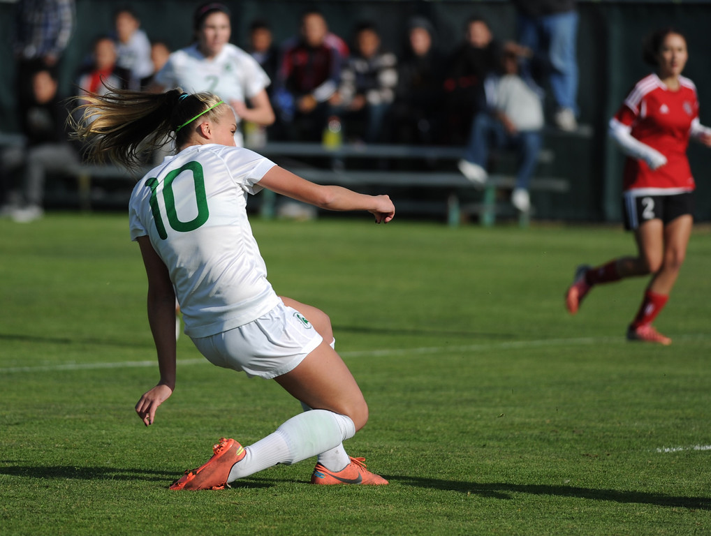 . 02-21-2012--(LANG Staff Photo by Sean Hiller)- South Torrance girls soccer beat Artesia 5-0 in Thursday\'s CIF Southern Section Division IV quarterfinal at South High. Kyla Diekmann gets a second goal and one a away from a hat trick she completed in the first half.