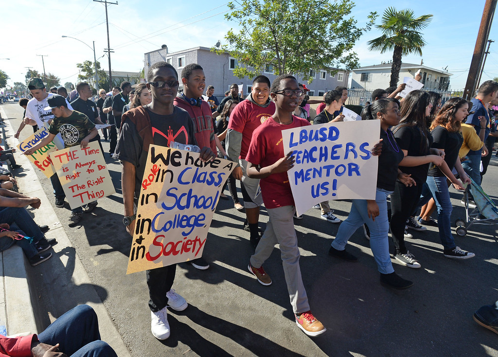. The 26th Annual Martin Luther King, Jr., Peace & Unity Parade Saturday, January 18, 2014, Long Beach, CA.  The LBUSD Male Academy filled the street with participants. Photo by Steve McCrank/Daily Breeze