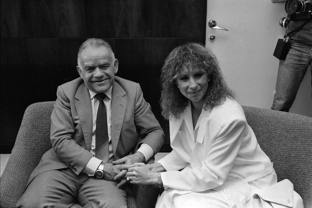 . Barbra Streisand, at right, meets with Israeli Prime Minister Yitzhak Shamir in his office in Jerusalem, Isreal on April 3, 1984.   (AP Photo/Max Nash)