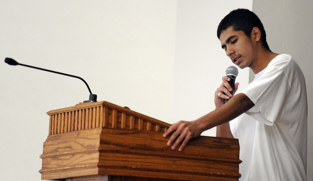 . Muir High School student seventeen year-old German Fortin speaks during the El Centro de Accion Social Annual Cesar Chavez Commemoration and Peace Walk at the Villa-Parke Community Center on Saturday, March 30, 2013 in Pasadena, Calif.  (Keith Birmingham Pasadena Star-News)