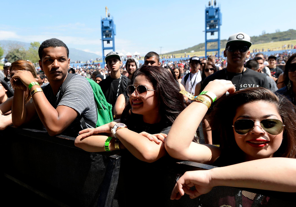Description of . Fans enjoy performances from the main stage at the Paid Dues Independent Hip Hop Festival at San Manuel Amphitheater in Devore March 30, 2013.  GABRIEL LUIS ACOSTA/STAFF PHOTOGRAPHER.