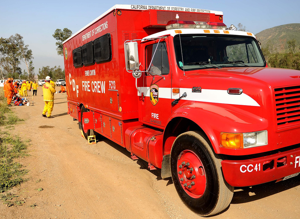 Description of . CAL FIRE San Bernardino Unit fire crews begin two days of fire preparedness exercises on Tuesday, April 23 and Wednesday, April 24, 2013.  The exercises are designed to test the readiness of the fire crews.  These preparedness exercises are conducted throughout the state in all twenty-one (21) CAL FIRE Units. All 196 fire crews will participate in these exercises.  Here in the San Bernardino Unit, the nineteen fire crews from Fenner, Pilot Rock, and Prado Conservation Camps will participate during the two days of exercises. The fire crews will be tested on a timed hike, fire shelter deployment, progressive hose lay and hand line construction.  The fire crew buses will also be inspected to ensure the vehicles readiness to respond to emergencies.LaFonzo Carter/ Staff Photographer