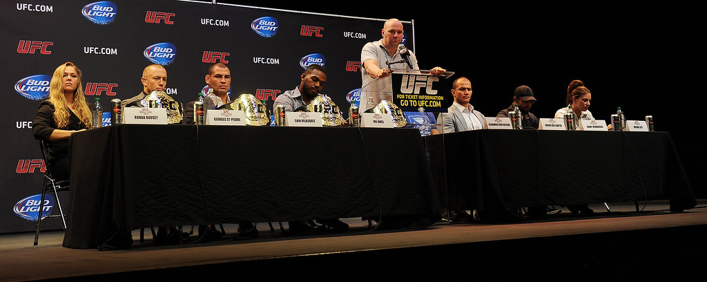 . UFC president Dana White introduces the fighters during the UFC World Tour at Club Nokia Tuesday, July 30, 2013 in Los Angeles. (Hans Gutknecht/Los Angeles Daily News)