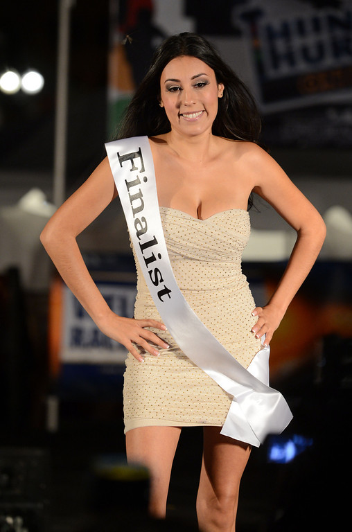 . Long Beach, Calif., -- 04-18-13-  Finalist Sara Sanchez during the 2013 Tecate Light Miss Toyota Grand Prix of Long Beach Thursday night on Pine Avenue at the Tecate Light Thunder Thursday on Pine.   Stephen Carr/  Los Angeles Newspaper Group