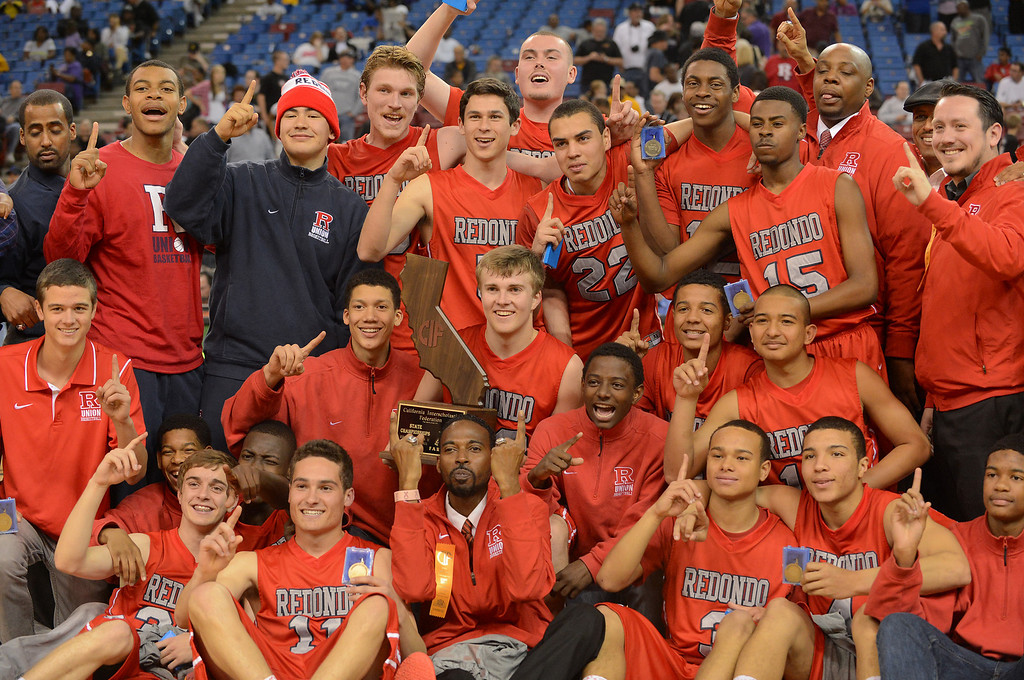 . The Redondo Union High School boys basketball team wins the Division II 2013 CIF State Basketball Championships at Sleep Train Arena, in Sacramento, Ca March 23, 2013.  Redondo won the game 54-47.(Andy Holzman/Los Angeles Daily News)