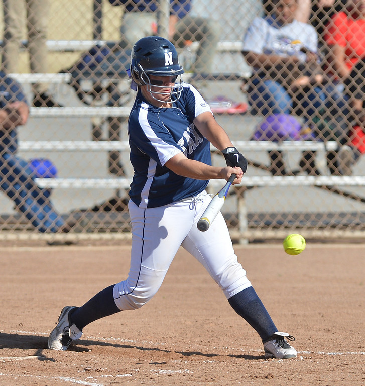 . 0314_SPT_TDB_L_CAR-NORTH--- Torrance, CALIFORNIA--3/13/13--- Staff Photo: Robert Casillas / LANG--- Carson at North Torrance softball. Tessa Tomaselli gets an RBI.
