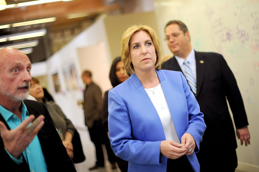 . Los Angeles mayoral candidate Wendy Greuel makes an appearance at WET Design in Los Angeles March 6, 2013.  Greuel and Eric Garcetti are now campaigning for a May runoff.(Andy Holzman/Los Angeles Daily News)