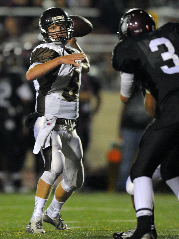 . West High takes on Torrance in a non league football game at Zamperini Stadium in Torrance, CA on Thursday, September 12, 2013. West QB Zach Heeger. (Photo by Scott Varley, Daily Breeze)