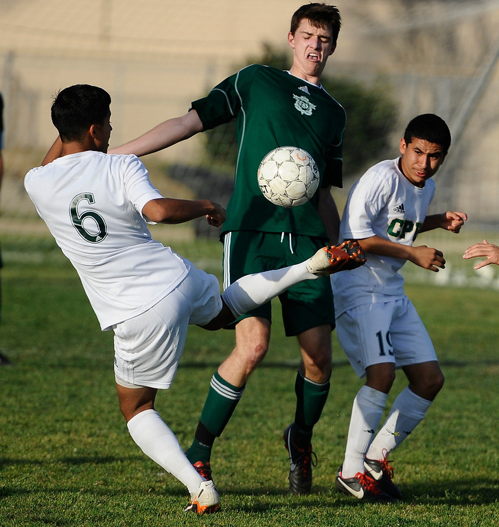 . March 4,2013. Canoga Park. Canoga Park #6 Gabriel Torres does some fancy kicking, as Canoga took the win 2-0 over Coronado high during the first round of Southern California Div. II boys soccer regional playoffs   Photo by Gene Blevins/LA DailyNews