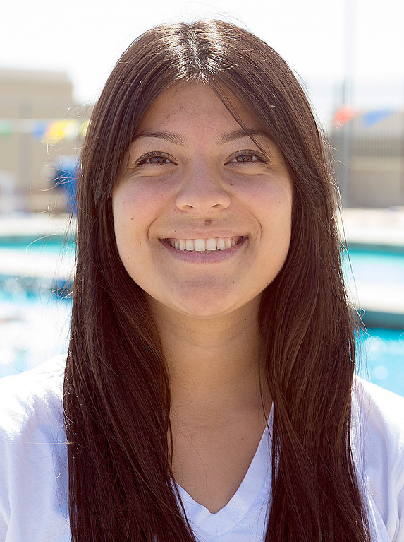 Description of . Vanessa Solano of Los Osos High School has been named to the Daily Bulletin's All-Valley Girl's water polo team. Photo by Frank Perez, for the Daily Bulletin.
