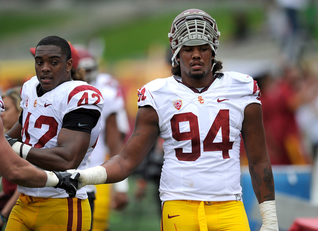 . DT Leonard Wiliams on the sidelines at USC\'s Spring Football Game. (Michael Owen Baker/Staff Photographer)