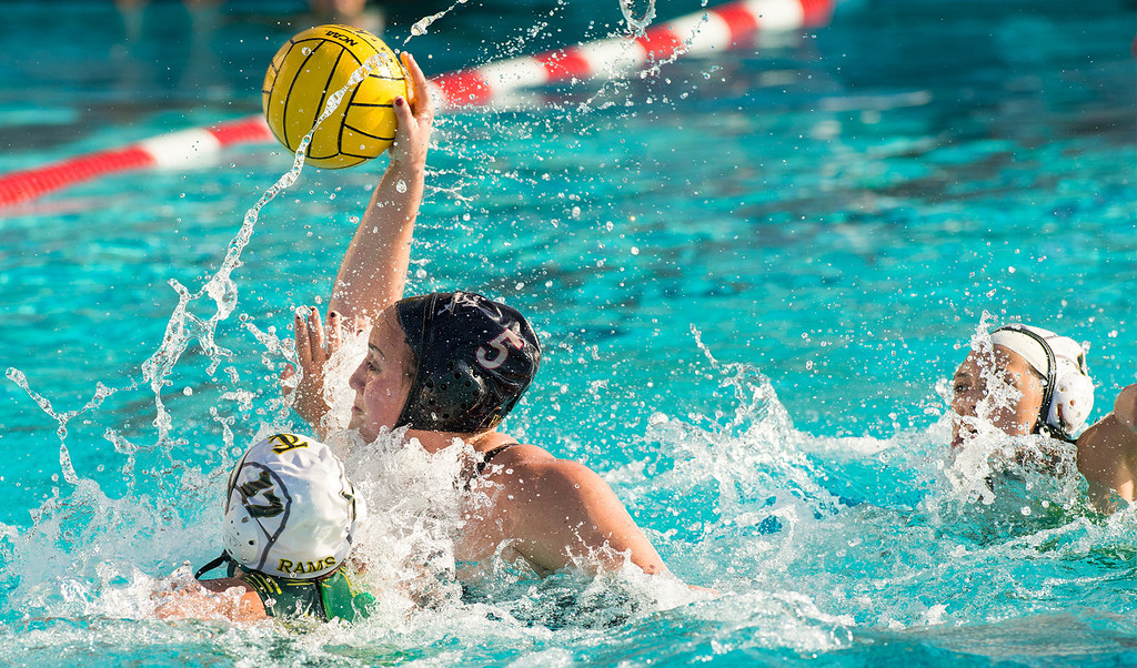 Description of . La Serna High's Gabby Pierandozzi takes a goal shot vs Temple City High in the CIF-SS girls water polo first-round game at Whittier High Feb. 14, 2013.   (SGVN/Staff photo by Leo Jarzomb)