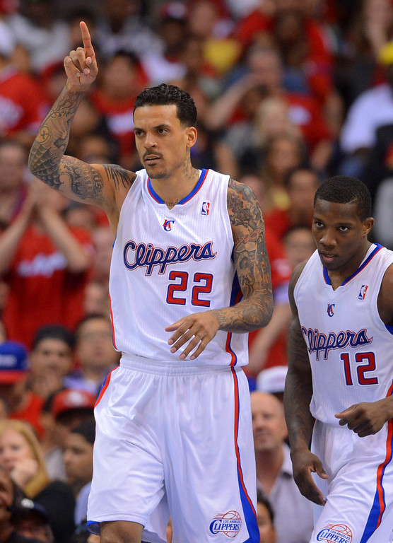 . Clippers forward Matt Barnes reacts after a basket against the Memphis Grizzlies during game 2 of the 2013 NBA Western Conference Playoffs April 22, 2013 in Los Angeles, CA.  The Clippers won the game 93-91.(Andy Holzman/Staff Photographer)