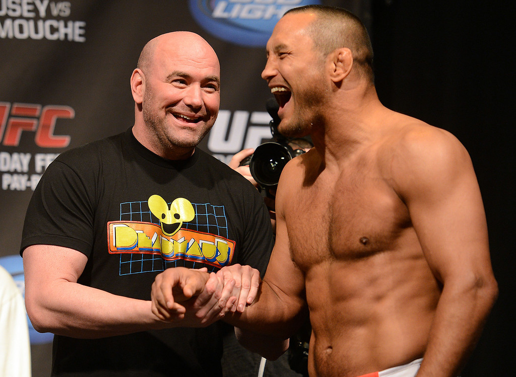 . UFC fighter Dan Henderson and UFC president Dana White during weigh-ins for UFC 157 Rousey vs Carmouche at the Honda Center in Anaheim Friday, February  22, 2013.  (Hans Gutknecht/Staff Photographer)