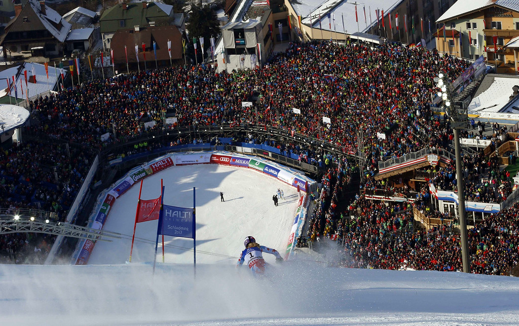 . France\'s Tessa Worley speeds down the course on her way to win the women\'s giant slalom, at the Alpine skiing world championships in Schladming, Austria, Thursday, Feb.14, 2013. (AP Photo/Alessandro Trovati)