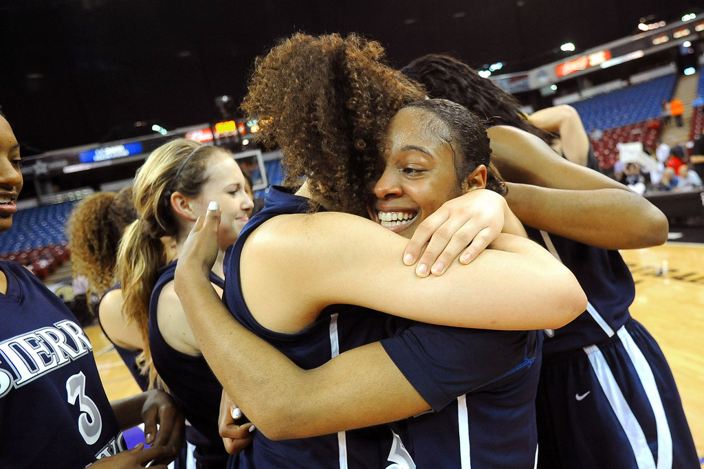 . Sierra Canyon High School players celebrate their State Championship after defeating Pinewood 47-33 during the 2013 CIF State Basketball Championships at the Sleep Train Arena, in Sacramento, Ca March 22, 2013.(Andy Holzman/Los Angeles Daily News)