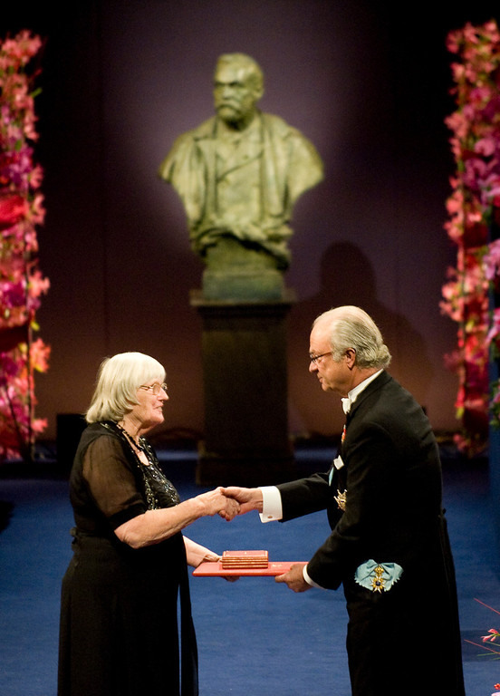 . Dr. Ruth Edwards, wife and colleague of the 2010 Nobel Medicine laureate Professor Robert G. Edwards of Britain receives the Nobel Prize in Medicine from King Carl XVI Gustaf of Sweden (R) during the Nobel prize award ceremony at the Stockholm Concert Hall in Stockholm on December 10, 2010.  JONATHAN NACKSTRAND/AFP/Getty Images)
