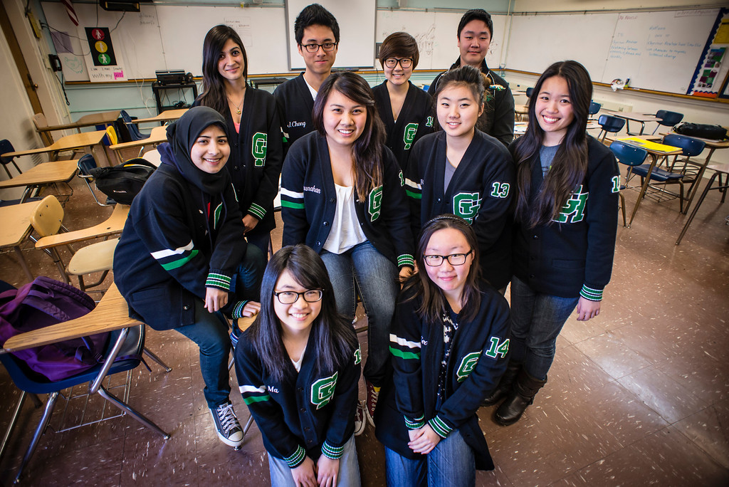 . The Granada Hills Charter High academic decathlon team; first row, L to R; Kelley Ma, Lailin Li, row 2; Hamidah Mahmud, Beatrice Dimaunahan, Rina Kim, Kimberly Ly, row 3; Faria Ghori, Jake Chong, Jenny Baek, Daniel Seong.  Photo by David Crane/Staff Photographer