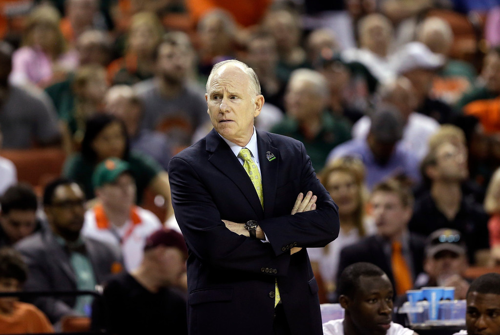. Miami head coach Jim Larranaga during the first half of a second-round game of the NCAA college basketball tournament against the Pacific Friday, March 22, 2013, in Austin, Texas.  (AP Photo/Eric Gay)