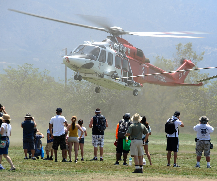 . LA city fire 3 kicks up the dust during the 20th anniversary of American Heroes Air Show Courage at the Speed of Flight at Hansen Dam. Lake View Terrace CA.  June 29,2013. Photo by Gene Blevins/LA Daily News