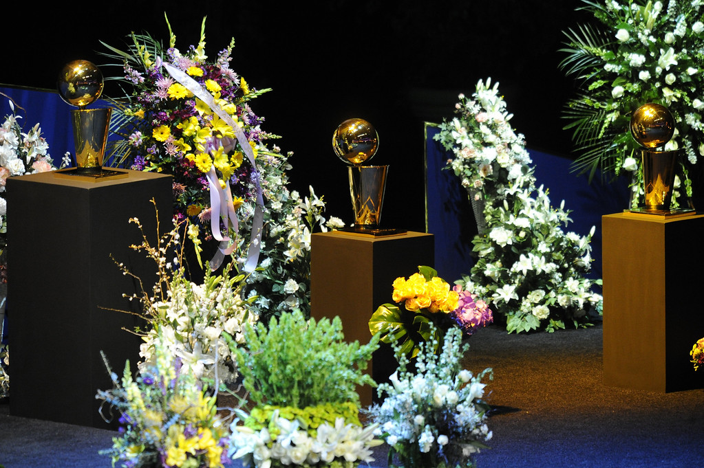 . Family, friends current and former Lakers players and coaches attended a memorial service at the Nokia Theatre for Laker owner Jerry Buss who passed away on Monday, 2/18/2013 as a result of cancer. Los Angeles, CA 2/21/2013 John McCoy/Staff Photographer