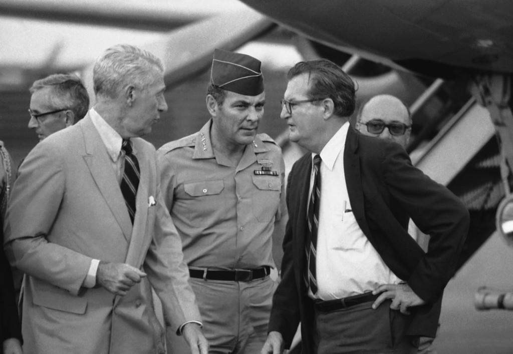 . In this April 10, 1973 photo, Gen. Alexander M. Haig, center, is greeted by acting ambassador Charles Whitehouse, left, and another embassy official following Haig\'s arrival, in Saigon, the last stop in his whirlwind tour of Indochina. The trip was made at the behest of President Nixon. As the last U.S. combat troops left Vietnam 40 years ago, angry protesters still awaited them at home. North Vietnamese soldiers took heart from their foes\' departure, and South Vietnamese who had helped the Americans feared for the future. While the fall of Saigon two years later � with its indelible images of frantic helicopter evacuations � is remembered as the final day of the Vietnam War, Friday marks an anniversary that holds greater meaning for many who fought, protested or otherwise lived it. (AP Photo/Neal Ulevich)