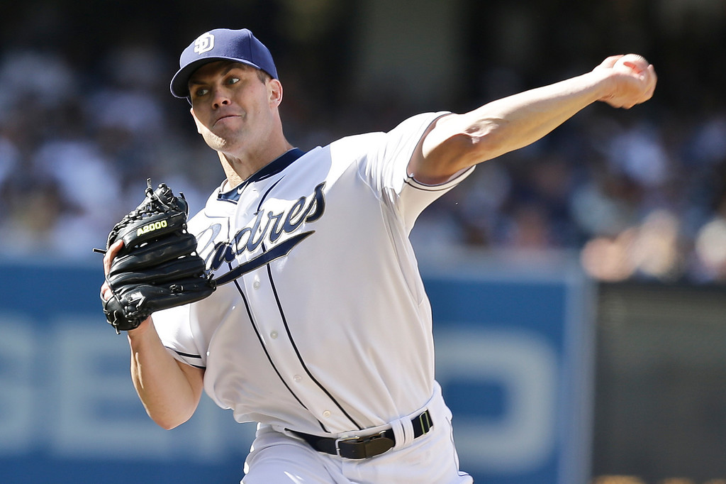 . San Diego Padres starting pitcher Clayton Richard works the first inning against the Los Angeles Dodgers during a baseball game in San Diego, Tuesday, April 9, 2013. (AP Photo/Lenny Ignelzi)
