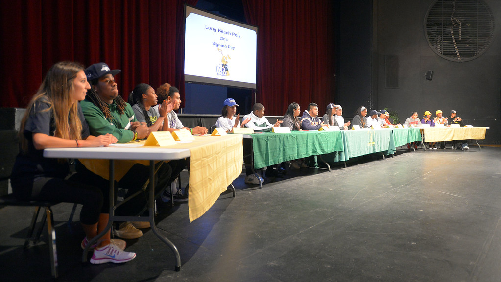 . 18 students athletes at Long Beach Poly gather before signing their national letters of intent to play athletics at 4-year universities during a ceremony in Long Beach, CA on Wednesday, February 5, 2014. (Photo by Scott Varley, Daily Breeze)